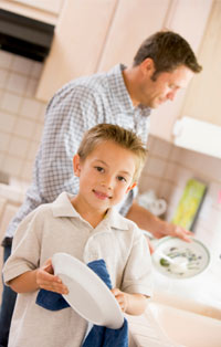 Dishes are a way to teach responsibility and bond
