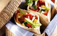 Healthy lunch pitta with vegetables