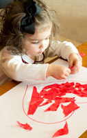 Tissue paper heart toddlers