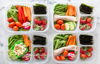 Healthy lunch veggie boxes