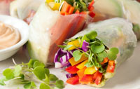 Healthy lunch spring rolls