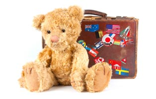 Teddy bear and suitcase
